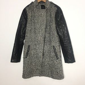 Forever 21 Size M Coat Faux Leather Wool Blend